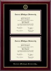 Central Michigan University Diploma Frame - Double Diploma Frame in Gallery