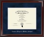 Eastern Virginia Medical School Diploma Frame - Silver Embossed Diploma Frame in Encore