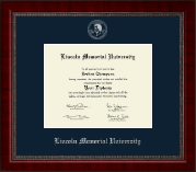 Lincoln Memorial University Diploma Frame - Silver Embossed Diploma Frame in Sutton
