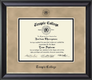 Temple College Diploma Frame - Black Embossed Diploma Frame in Noir