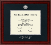 East Tennessee  State University Diploma Frame - Presidential Silver Engraved Diploma Frame in Jefferson