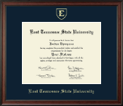 East Tennessee  State University Diploma Frame - Gold Embossed Diploma Frame in Studio