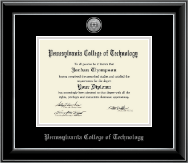 Pennsylvania College of Technology Diploma Frame - Silver Engraved Medallion Diploma Frame in Onyx Silver