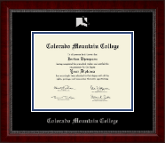 Colorado Mountain College Diploma Frame - Silver Embossed Diploma Frame in Sutton