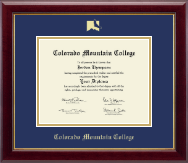Colorado Mountain College Diploma Frame - Gold Embossed Diploma Frame in Gallery