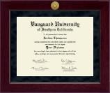 Vanguard University of Southern California Diploma Frame - Millennium Gold Engraved Diploma Frame in Cordova