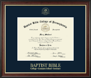 Baptist Bible College and Seminary Diploma Frame - Gold Embossed Diploma Frame in Studio Gold