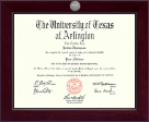 The University of Texas Arlington (UTA) Diploma Frame - Century Silver Engraved Diploma Frame in Cordova