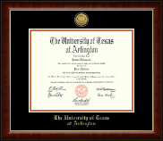 The University of Texas Arlington (UTA) Diploma Frame - Gold Engraved Medallion Diploma Frame in Murano