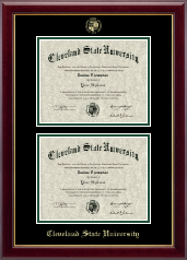 Cleveland State University Diploma Frame - Double Diploma Frame in Gallery