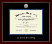 Villanova University Diploma Frame - Silver Engraved Medallion Diploma Frame in Sutton