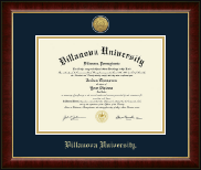 Villanova University Diploma Frame - Gold Engraved Medallion Diploma Frame in Murano