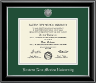 Eastern New Mexico University Diploma Frame - Silver Engraved Medallion Diploma Frame in Onyx Silver