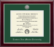 Eastern New Mexico University Diploma Frame - Silver Engraved Medallion Diploma Frame in Gallery Silver