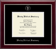 Wesley Biblical Seminary Diploma Frame - Silver Embossed Diploma Frame in Gallery Silver