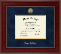 Hope College Diploma Frame - Presidential Gold Engraved Diploma Frame in Jefferson