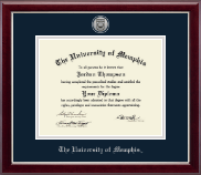 The University of Memphis Diploma Frame - Silver Engraved Medallion Diploma Frame in Gallery Silver