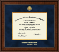 University of Texas Southwestern Medical Center Diploma Frame - Presidential Gold Engraved Diploma Frame in Madison