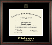 University of Texas Southwestern Medical Center Diploma Frame - Gold Embossed Diploma Frame in Studio