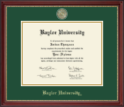 Baylor University Diploma Frame - Masterpiece Medallion Diploma Frame in Kensington Gold