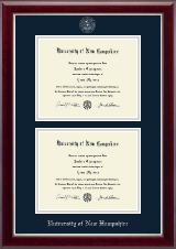 University of New Hampshire Diploma Frame - Double Diploma Frame in Gallery Silver