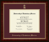 University of Louisiana Monroe Diploma Frame - Gold Embossed Diploma Frame in Murano