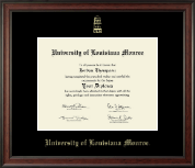 University of Louisiana Monroe Diploma Frame - Gold Embossed Diploma Frame in Studio