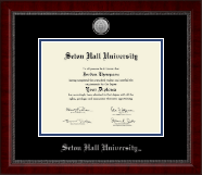 Seton Hall University Diploma Frame - Silver Engraved Medallion Diploma Frame in Sutton