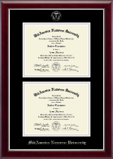 MidAmerica Nazarene University Diploma Frame - Silver Embossed Double Diploma Frame in Gallery Silver