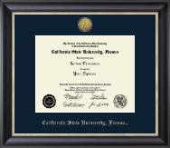 California State University Fresno Diploma Frame - Gold Engraved Medallion Diploma Frame in Noir