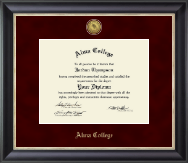 Alma College Diploma Frame - Gold Engraved Medallion Diploma Frame in Noir