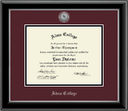 Alma College Diploma Frame - Silver Engraved Medallion Diploma Frame in Onyx Silver