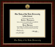 Our Lady of the Lake University Diploma Frame - Gold Engraved Medallion Diploma Frame in Murano