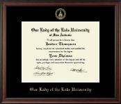Our Lady of the Lake University Diploma Frame - Gold Embossed Diploma Frame in Studio