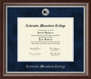 Colorado Mountain College Diploma Frame - Silver Engraved Medallion Diploma Frame in Devonshire