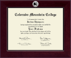 Colorado Mountain College Diploma Frame - Century Silver Engraved Diploma Frame in Cordova