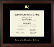 Colorado Mountain College Diploma Frame - Gold Embossed Diploma Frame in Studio Gold