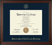 University of California Berkeley Diploma Frame - Gold Embossed Diploma Frame in Studio