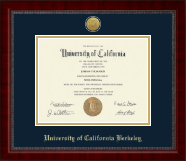 University of California Berkeley Diploma Frame - Gold Engraved Medallion Diploma Frame in Sutton