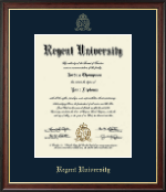 Regent University Diploma Frame - Gold Embossed Diploma Frame in Studio Gold