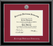 Fairleigh Dickinson University Diploma Frame - Silver Engraved Medallion Diploma Frame in Onyx Silver
