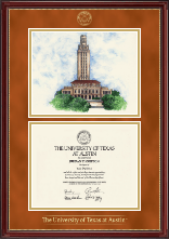 The University of Texas Austin Diploma Frame - Campus Scene Lithograph Diploma Frame in Kensington Gold