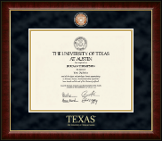The University of Texas Austin Diploma Frame - Masterpiece Medallion Diploma Frame in Murano