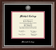 Mitchell College Diploma Frame - Silver Engraved Medallion Diploma Frame in Devonshire