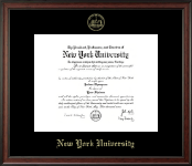 New York University Diploma Frame - Gold Embossed Diploma Frame in Studio