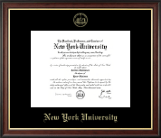 New York University Certificate Frame - Gold Embossed Certificate Frame in Studio Gold