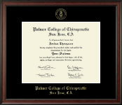 Palmer College of Chiropractic San Jose Diploma Frame - Gold Embossed Diploma Frame in Studio