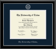 The University of Tulsa Diploma Frame - Silver Embossed Diploma Frame in Onyx Silver