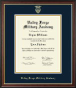 Valley Forge Military Academy Diploma Frame - Gold Embossed Diploma Frame in Studio Gold