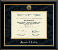 Monmouth College Diploma Frame - Gold Engraved Medallion Diploma Frame in Onyx Gold